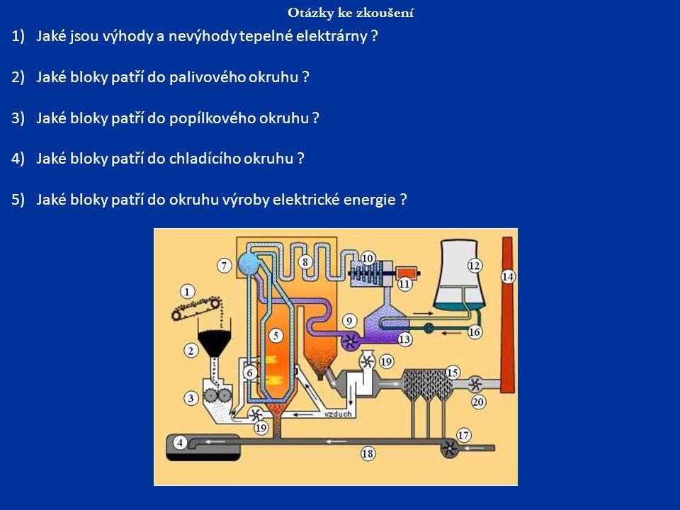 Otázky ke zkoušení 1)Jaké jsou výhody a nevýhody tepelné elektrárny ? 2)Jaké bloky patří do palivového okruhu ? 3)Jaké bloky patří do popílkového okru