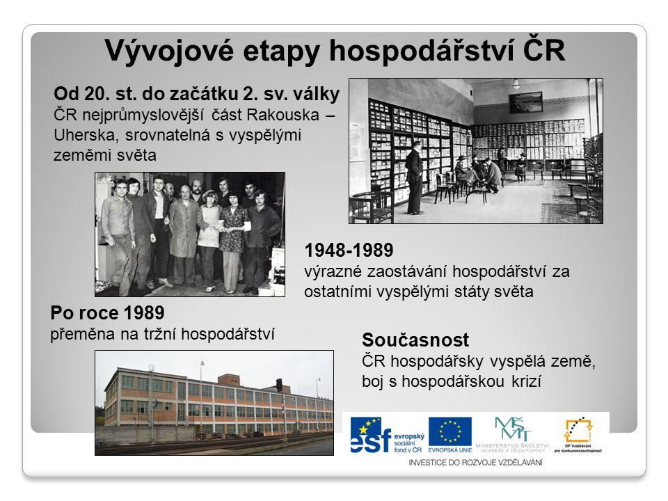 Vývoj hospodářství ČR 1948-1989 Ústředně řízené plánování způsobilo výrazné zaostávání naší země za ostatními vyspělými státy světa.