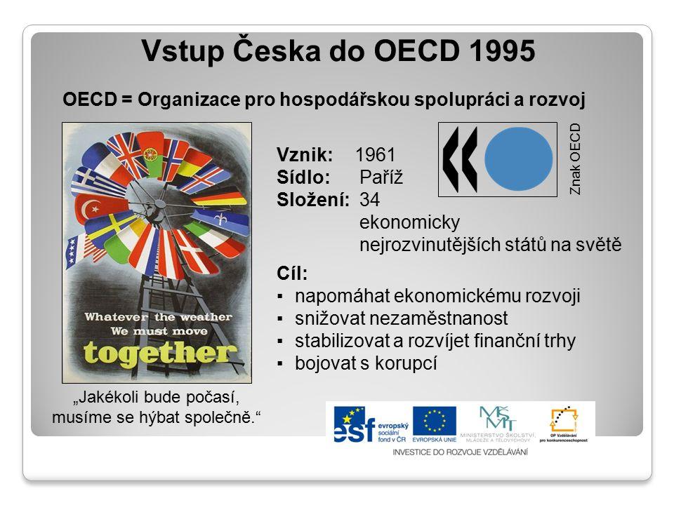 """Vstup Česka do OECD 1995 OECD = Organizace pro hospodářskou spolupráci a rozvoj """"Jakékoli bude počasí, musíme se hýbat společně."""" Cíl: ▪napomáhat ekon"""