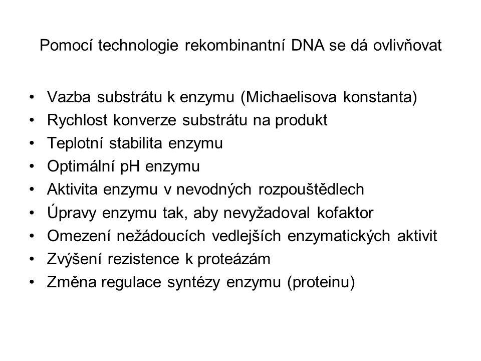 Pomocí technologie rekombinantní DNA se dá ovlivňovat Vazba substrátu k enzymu (Michaelisova konstanta) Rychlost konverze substrátu na produkt Teplotn