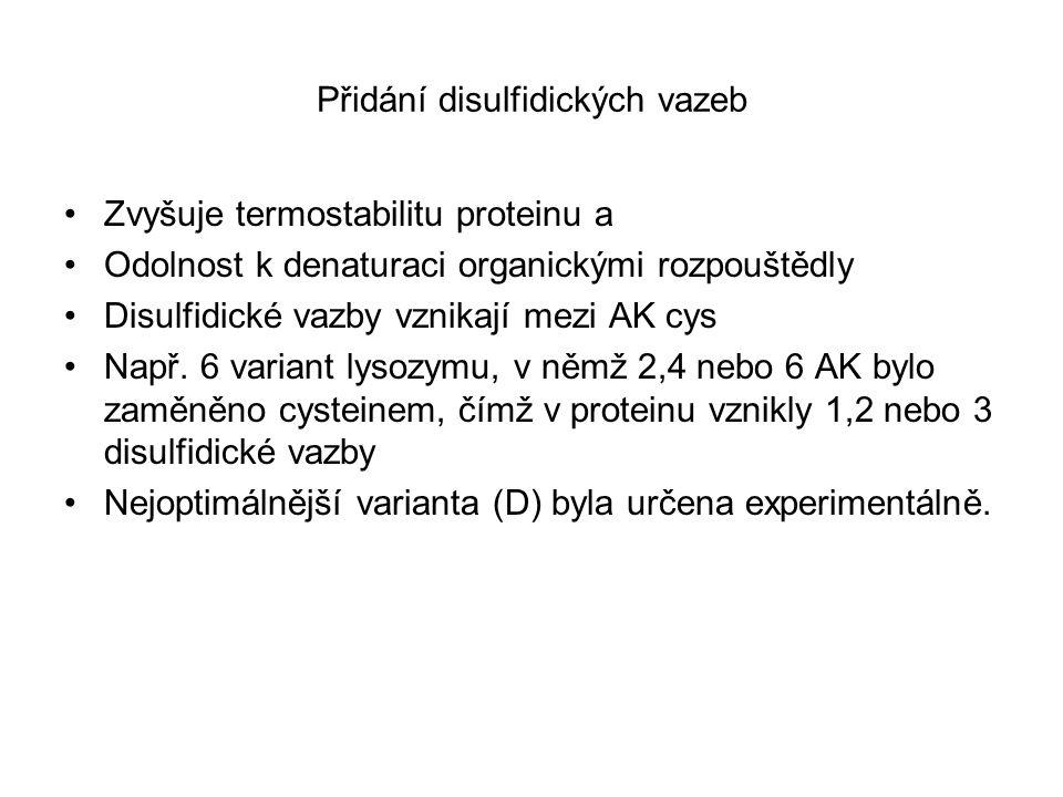 Přidání disulfidických vazeb Zvyšuje termostabilitu proteinu a Odolnost k denaturaci organickými rozpouštědly Disulfidické vazby vznikají mezi AK cys