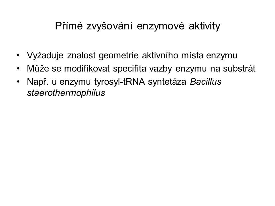 Přímé zvyšování enzymové aktivity Vyžaduje znalost geometrie aktivního místa enzymu Může se modifikovat specifita vazby enzymu na substrát Např. u enz