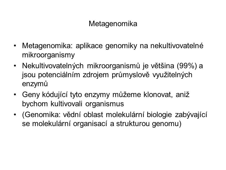 Metagenomika Metagenomika: aplikace genomiky na nekultivovatelné mikroorganismy Nekultivovatelných mikroorganismů je většina (99%) a jsou potenciálním