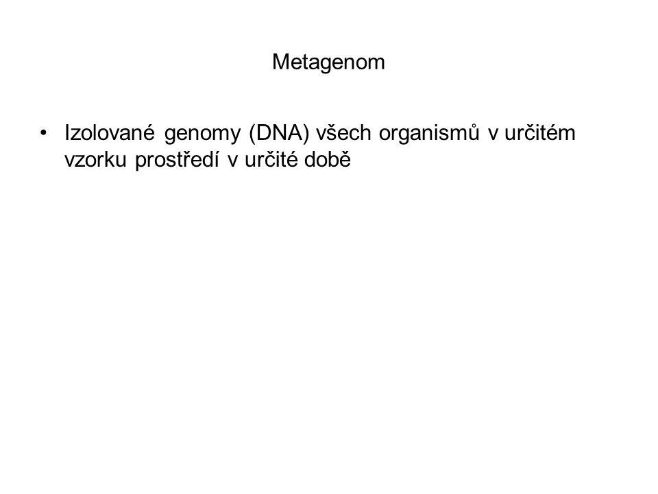 Metagenom Izolované genomy (DNA) všech organismů v určitém vzorku prostředí v určité době