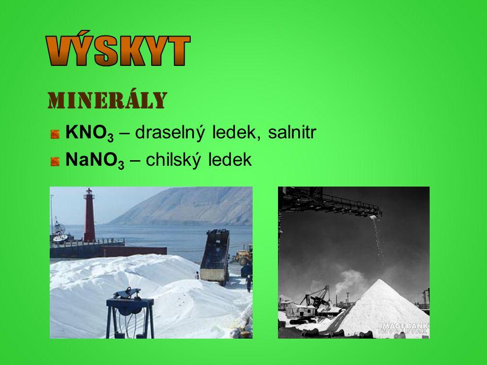 minerály KNO 3 – draselný ledek, salnitr NaNO 3 – chilský ledek