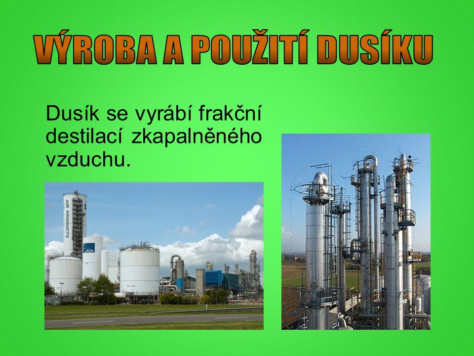 Dusík se vyrábí frakční destilací zkapalněného vzduchu.