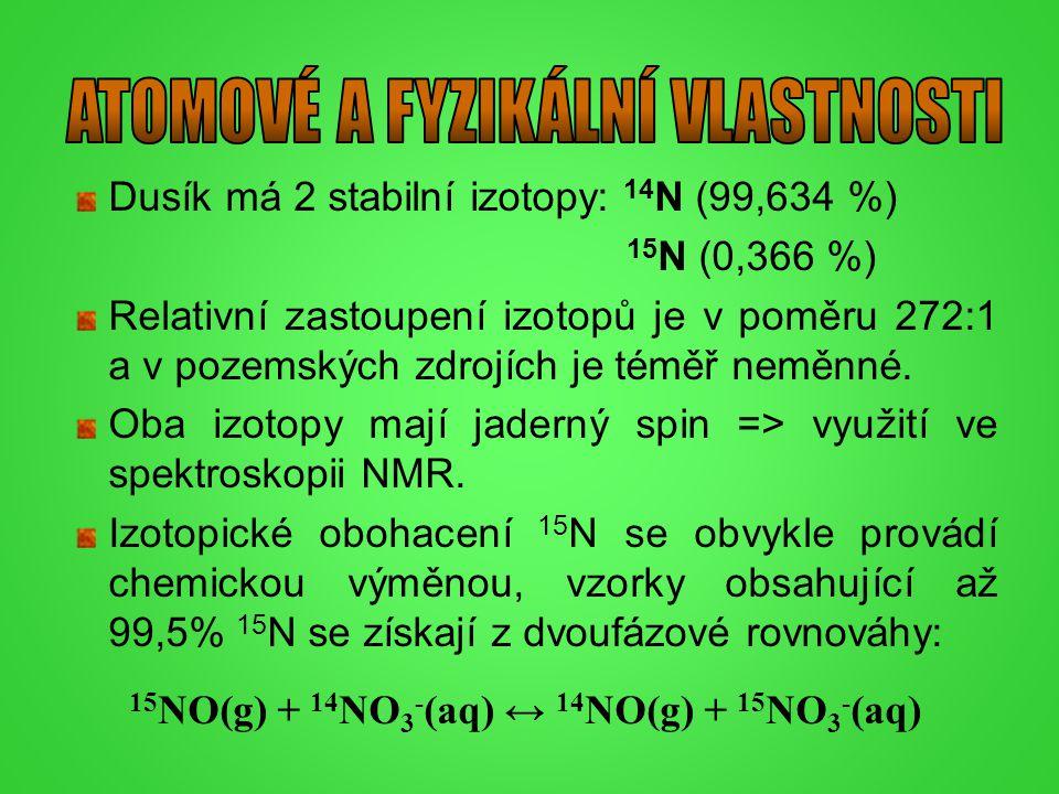 Dusík má 2 stabilní izotopy: 14 N (99,634 %) 15 N (0,366 %) Relativní zastoupení izotopů je v poměru 272:1 a v pozemských zdrojích je téměř neměnné. O