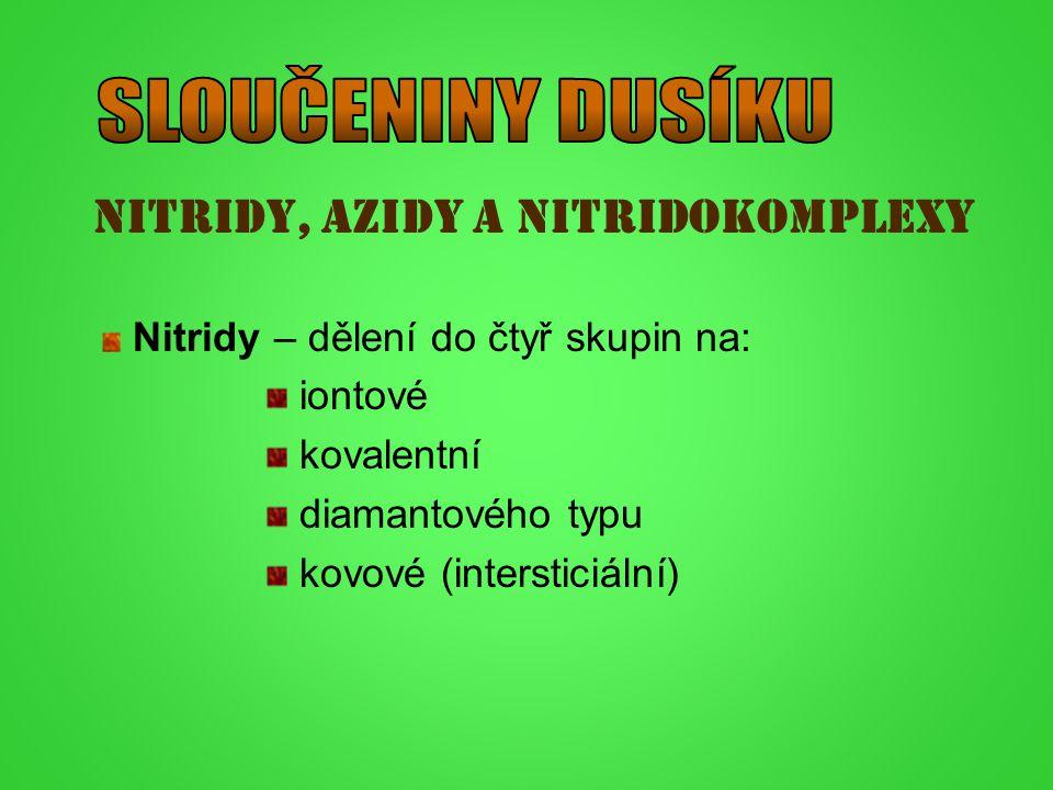 Nitridy, azidy a nitridokomplexy Nitridy – dělení do čtyř skupin na: iontové kovalentní diamantového typu kovové (intersticiální)