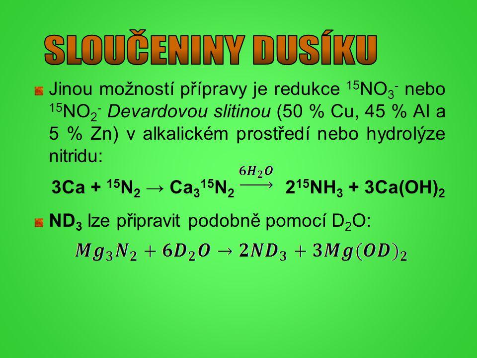 Jinou možností přípravy je redukce 15 NO 3 - nebo 15 NO 2 - Devardovou slitinou (50 % Cu, 45 % Al a 5 % Zn) v alkalickém prostředí nebo hydrolýze nitr