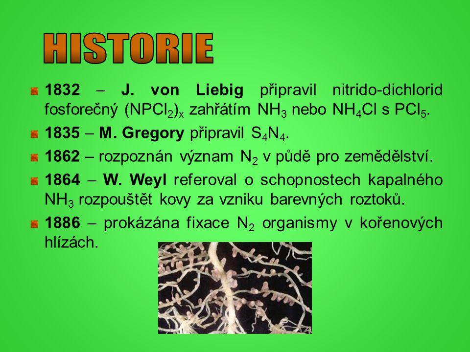 1832 – J. von Liebig připravil nitrido-dichlorid fosforečný (NPCl 2 ) x zahřátím NH 3 nebo NH 4 Cl s PCl 5. 1835 – M. Gregory připravil S 4 N 4. 1862