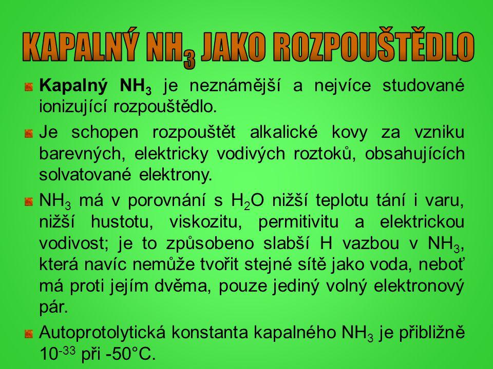 Kapalný NH 3 je neznámější a nejvíce studované ionizující rozpouštědlo. Je schopen rozpouštět alkalické kovy za vzniku barevných, elektricky vodivých