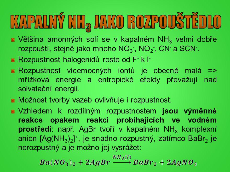 Většina amonných solí se v kapalném NH 3 velmi dobře rozpouští, stejně jako mnoho NO 3 -, NO 2 -, CN - a SCN -. Rozpustnost halogenidů roste od F - k