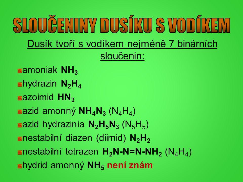 Dusík tvoří s vodíkem nejméně 7 binárních sloučenin: amoniak NH 3 hydrazin N 2 H 4 azoimid HN 3 azid amonný NH 4 N 3 (N 4 H 4 ) azid hydrazinia N 2 H