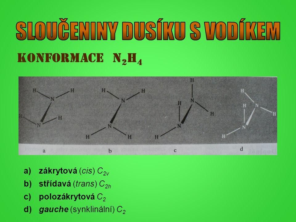 Konformace N 2 H 4 a)zákrytová (cis) C 2v b)střídavá (trans) C 2h c)polozákrytová C 2 d)gauche (synklinální) C 2
