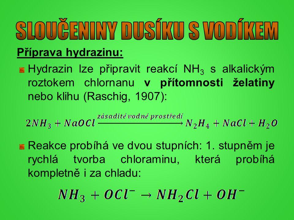 Příprava hydrazinu: Hydrazin lze připravit reakcí NH 3 s alkalickým roztokem chlornanu v přítomnosti želatiny nebo klihu (Raschig, 1907): Reakce probí
