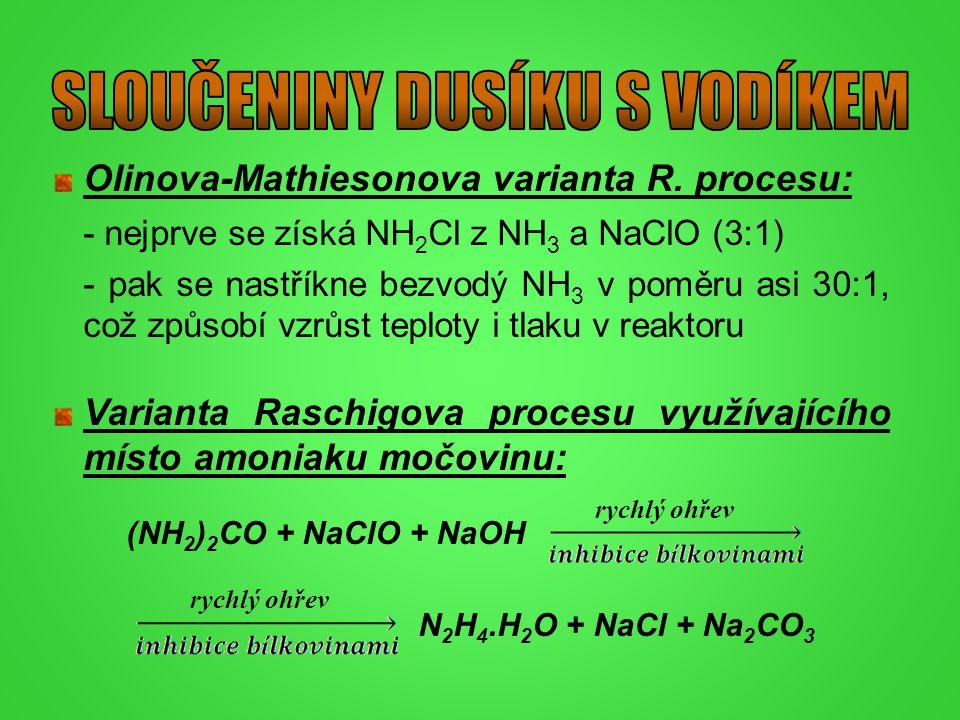 Olinova-Mathiesonova varianta R. procesu: - nejprve se získá NH 2 Cl z NH 3 a NaClO (3:1) - pak se nastříkne bezvodý NH 3 v poměru asi 30:1, což způso