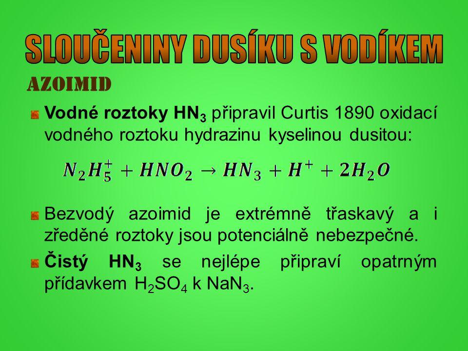 azoimid Vodné roztoky HN 3 připravil Curtis 1890 oxidací vodného roztoku hydrazinu kyselinou dusitou: Bezvodý azoimid je extrémně třaskavý a i zředěné