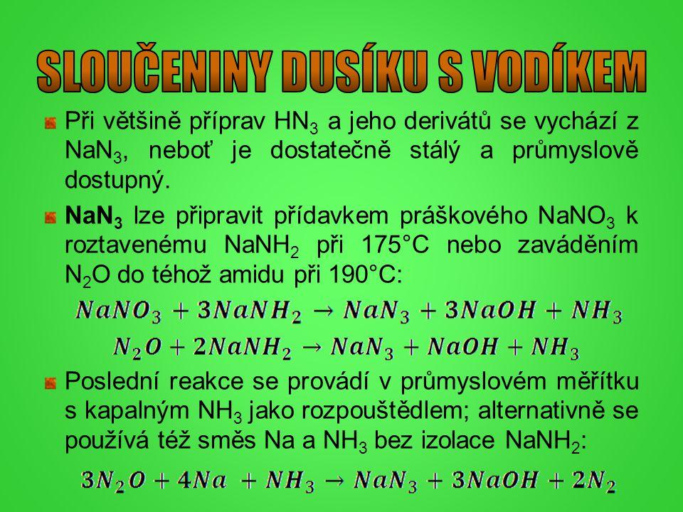 Při většině příprav HN 3 a jeho derivátů se vychází z NaN 3, neboť je dostatečně stálý a průmyslově dostupný. NaN 3 lze připravit přídavkem práškového