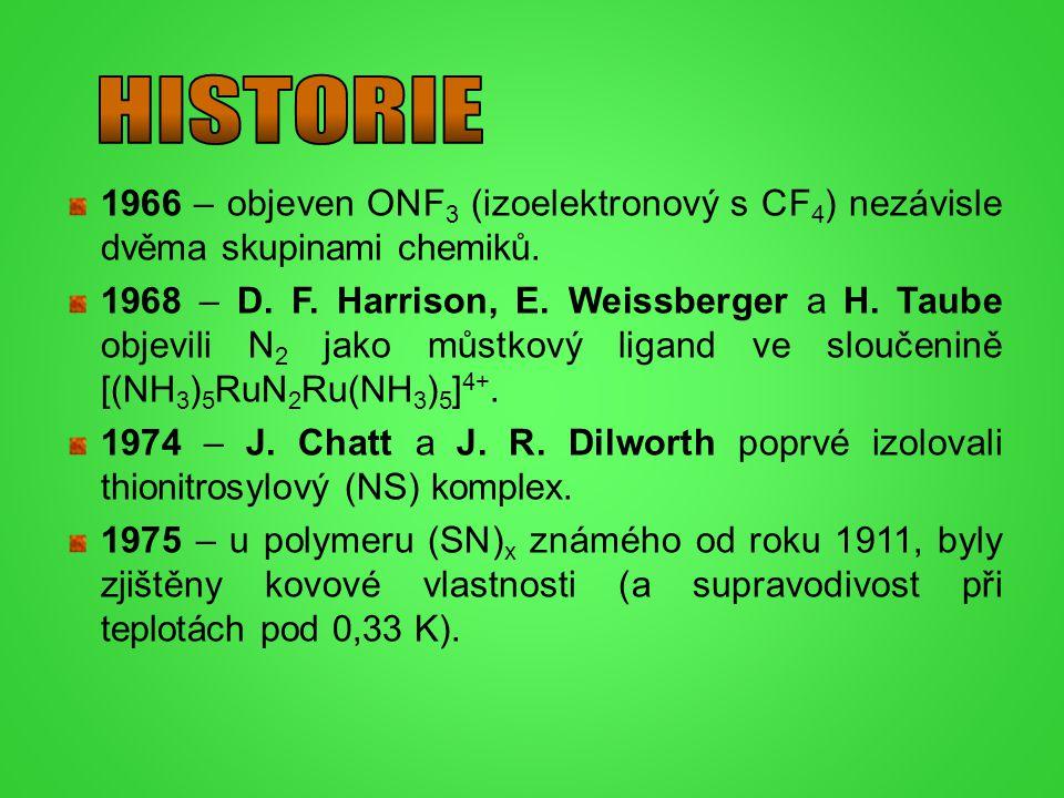 1966 – objeven ONF 3 (izoelektronový s CF 4 ) nezávisle dvěma skupinami chemiků. 1968 – D. F. Harrison, E. Weissberger a H. Taube objevili N 2 jako mů