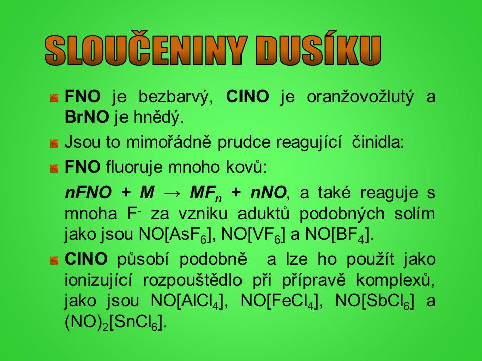 FNO je bezbarvý, ClNO je oranžovožlutý a BrNO je hnědý. Jsou to mimořádně prudce reagující činidla: FNO fluoruje mnoho kovů: nFNO + M → MF n + nNO, a