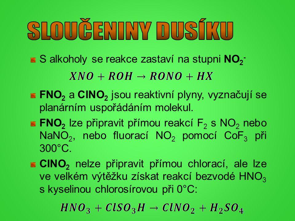 S alkoholy se reakce zastaví na stupni NO 2 - FNO 2 a ClNO 2 jsou reaktivní plyny, vyznačují se planárním uspořádáním molekul. FNO 2 lze připravit pří