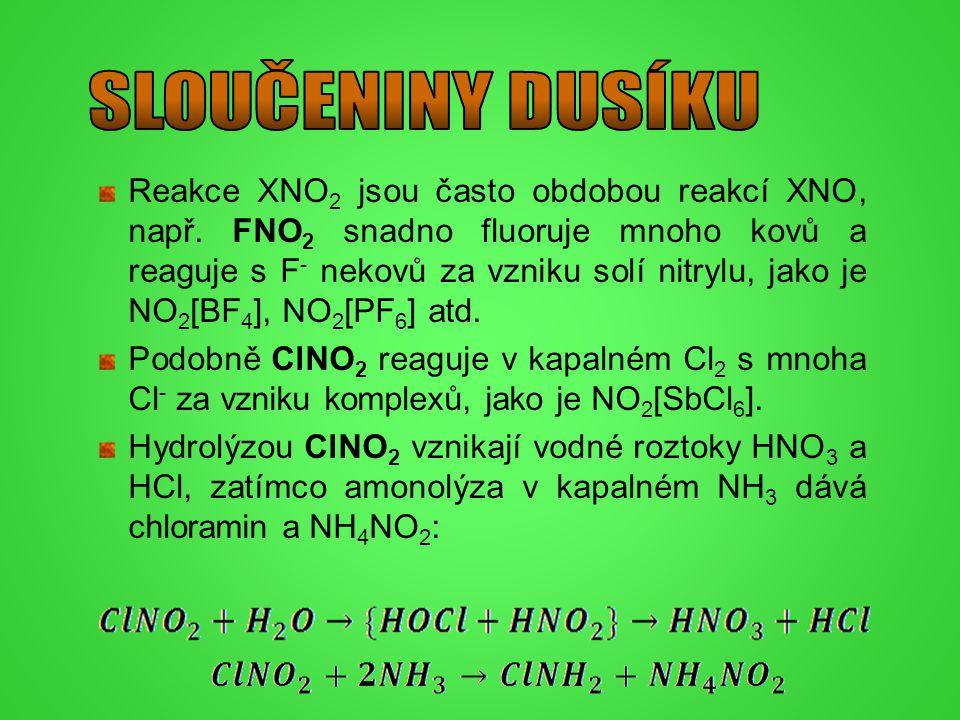 Reakce XNO 2 jsou často obdobou reakcí XNO, např. FNO 2 snadno fluoruje mnoho kovů a reaguje s F - nekovů za vzniku solí nitrylu, jako je NO 2 [BF 4 ]