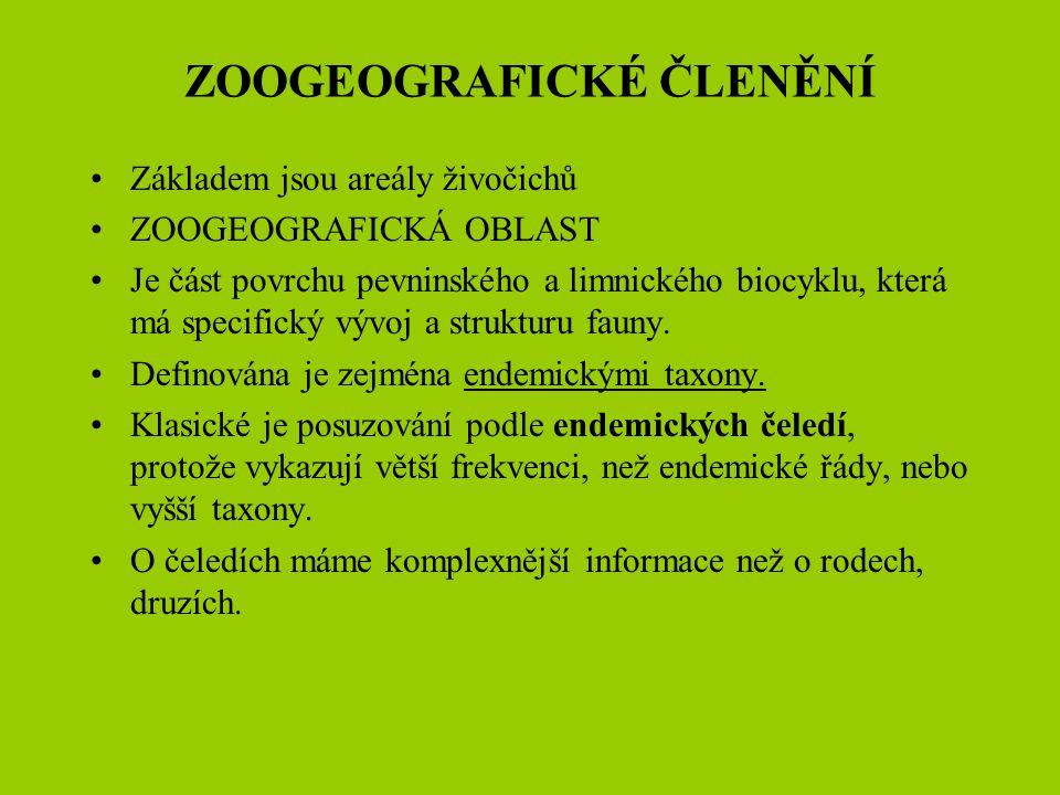 ZOOGEOGRAFICKÉ ČLENĚNÍ Základem jsou areály živočichů ZOOGEOGRAFICKÁ OBLAST Je část povrchu pevninského a limnického biocyklu, která má specifický výv