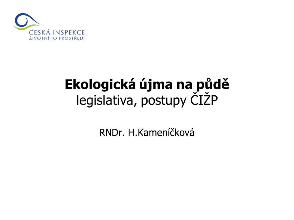 Ekologická újma na půdě legislativa, postupy ČIŽP RNDr. H.Kameníčková