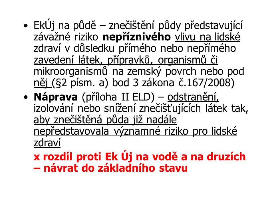 Náprava ekologické újmy na půdě § 11 zákona č.167/2008 Sb.