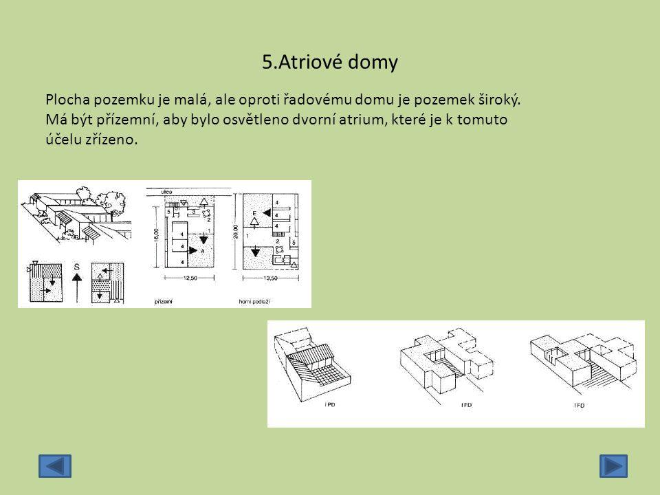 6.Řetězové domy Řetězové domy jsou v podstatě řádovou zástavbou.