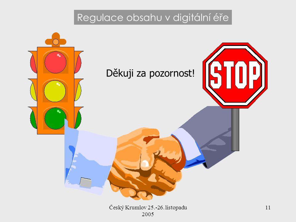 Český Krumlov 25.-26. listopadu 2005 11 Regulace obsahu v digitální éře Děkuji za pozornost!