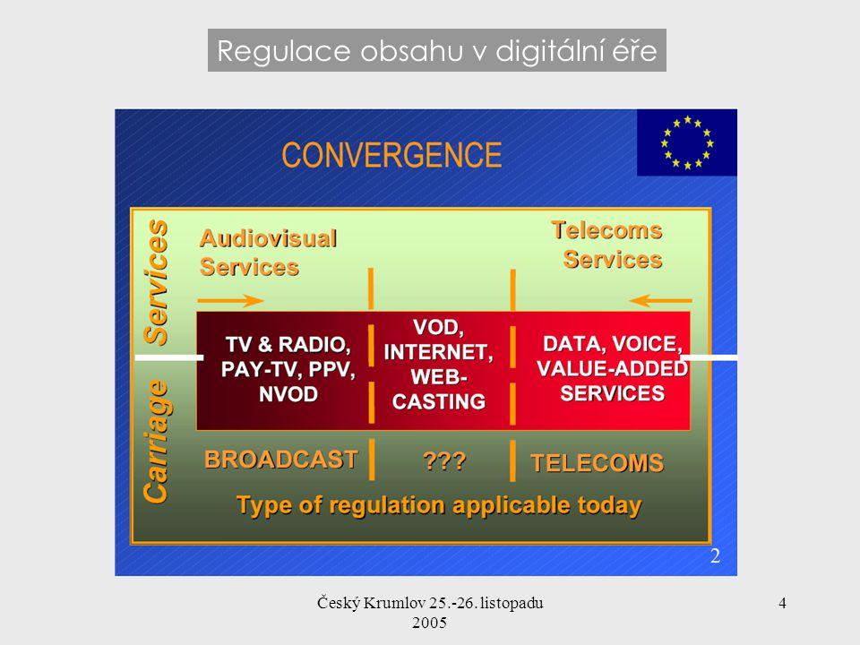 Český Krumlov 25.-26. listopadu 2005 4 Regulace obsahu v digitální éře