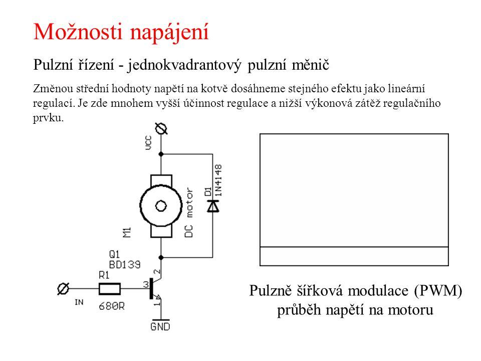 Možnosti napájení Pulzně šířková modulace (PWM) průběh napětí na motoru Pulzní řízení - jednokvadrantový pulzní měnič Změnou střední hodnoty napětí na