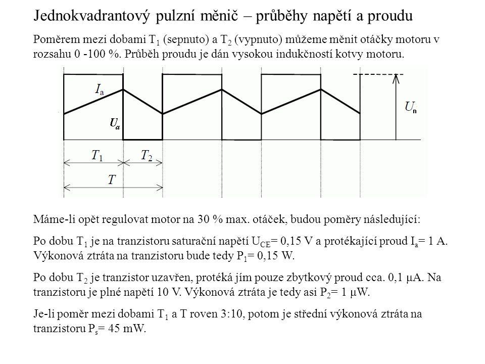 Jednokvadrantový pulzní měnič – průběhy napětí a proudu Poměrem mezi dobami T 1 (sepnuto) a T 2 (vypnuto) můžeme měnit otáčky motoru v rozsahu 0 -100