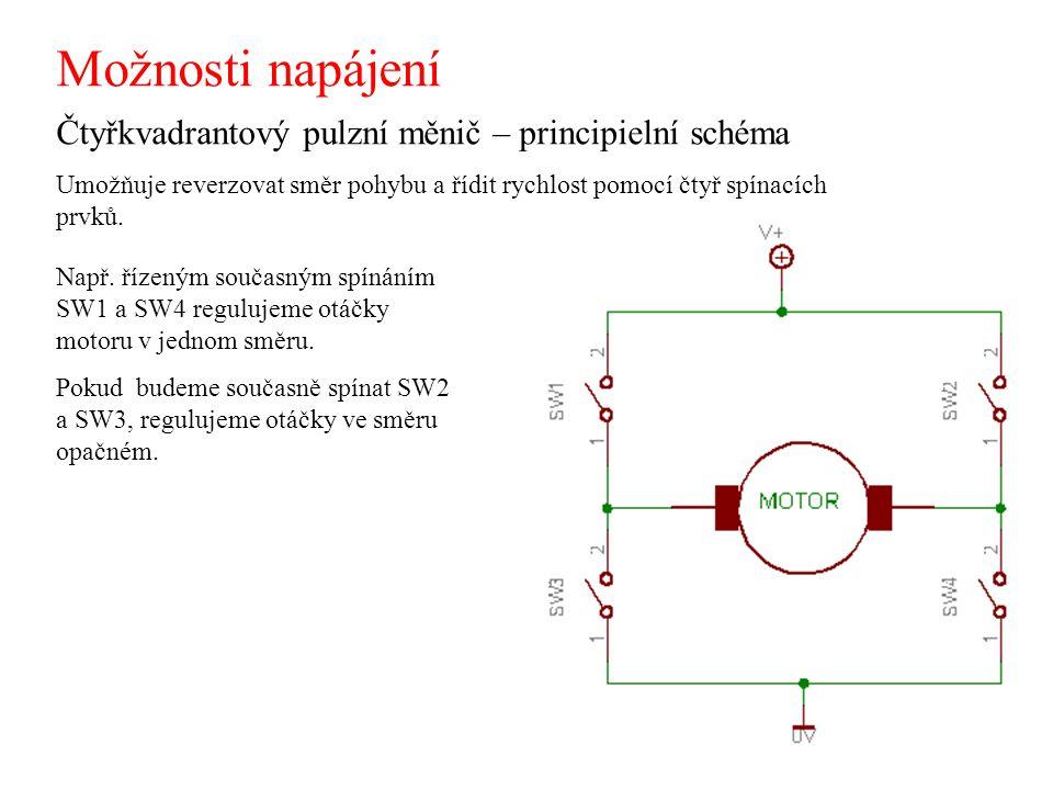Možnosti napájení Čtyřkvadrantový pulzní měnič – principielní schéma Umožňuje reverzovat směr pohybu a řídit rychlost pomocí čtyř spínacích prvků. Nap