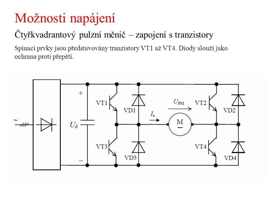 Možnosti napájení Čtyřkvadrantový pulzní měnič – zapojení s tranzistory Spínací prvky jsou představovány tranzistory VT1 až VT4. Diody slouží jako och