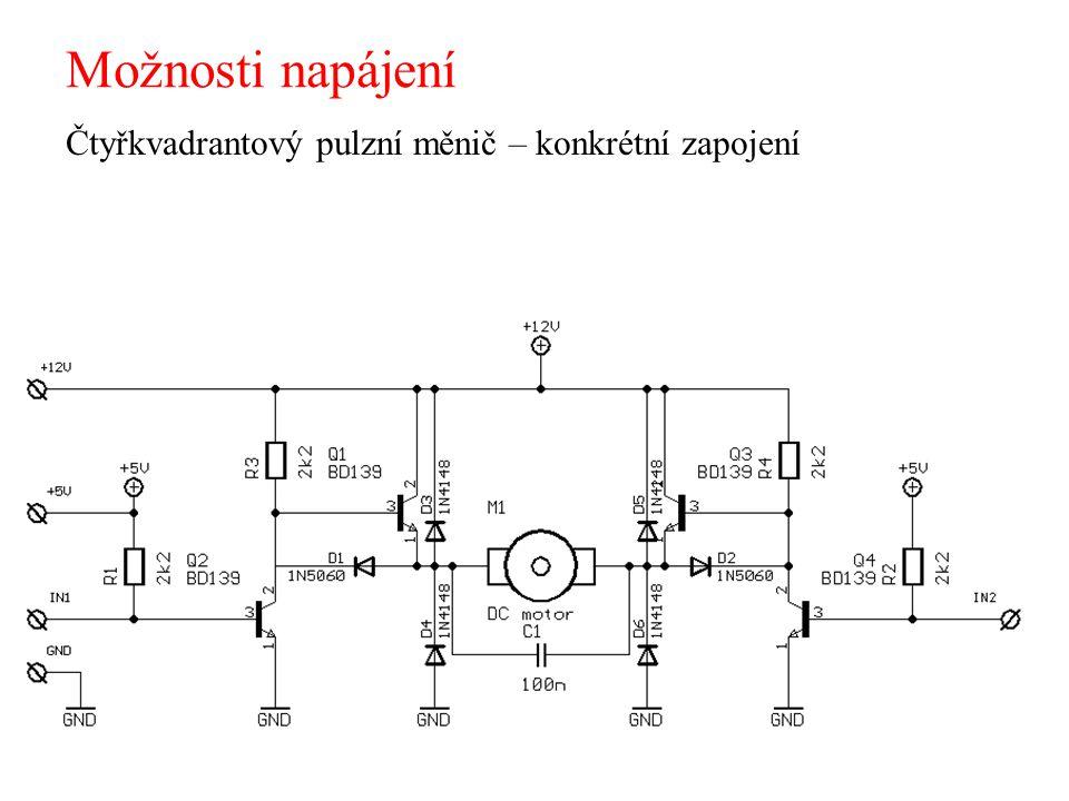 Možnosti napájení Čtyřkvadrantový pulzní měnič – konkrétní zapojení