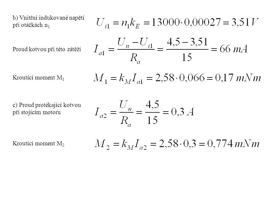 b) Vnitřní indukované napětí při otáčkách n 1 Proud kotvou při této zátěži Kroutící moment M 1 c) Proud protékající kotvou při stojícím motoru Kroutíc