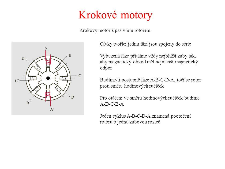 Krokové motory Krokový motor s pasivním rotorem Cívky tvořící jednu fázi jsou spojeny do série Vybuzená fáze přitáhne vždy nejbližší zuby tak, aby mag