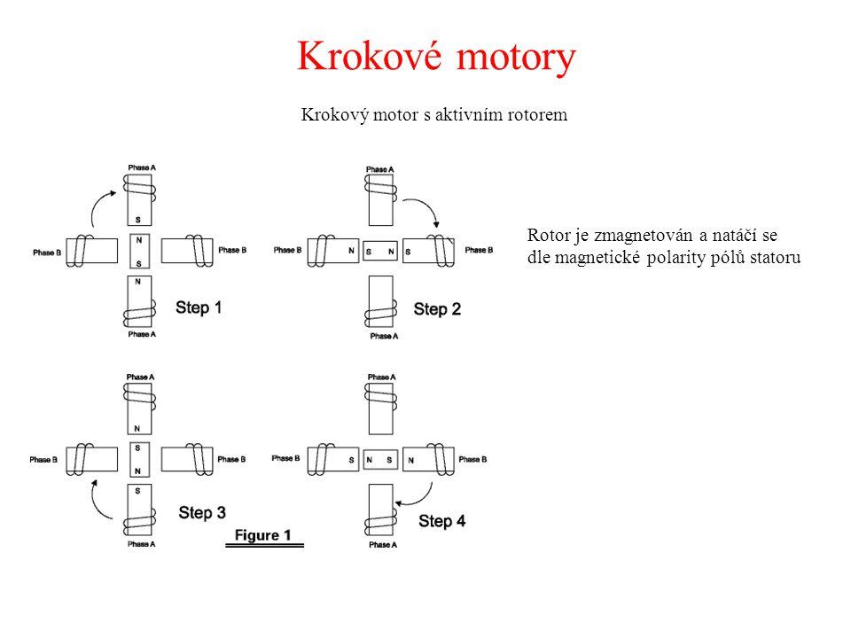 Krokové motory Krokový motor s aktivním rotorem Rotor je zmagnetován a natáčí se dle magnetické polarity pólů statoru