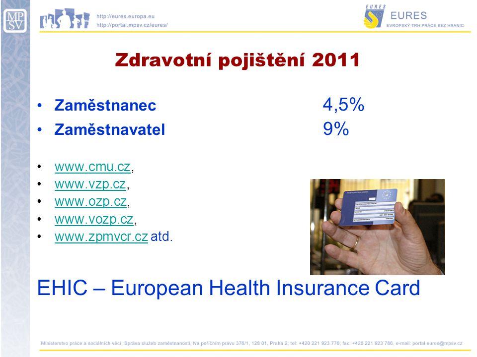 Sociální zabezpečení www.cssz.cz www.cssz.cz Zaměstnanec 6,5 % Nemocenské pojištění 0 % Důchodové pojištění 6,5 % Příspěvek na státní politiku zaměstnanosti 0 % Zaměstnavatel25 % Nemocenské pojištění 2,3 % Důchodové pojištění 21,5 % Příspěvek na státní politiku zaměstnanosti 1,2 %