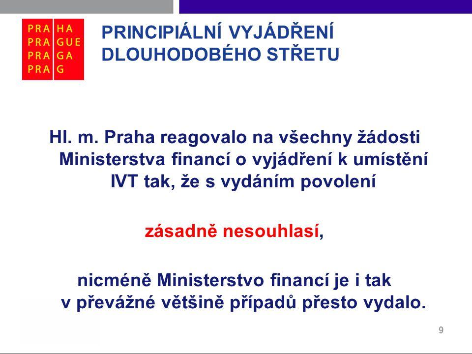 PRINCIPIÁLNÍ VYJÁDŘENÍ DLOUHODOBÉHO STŘETU Hl. m. Praha reagovalo na všechny žádosti Ministerstva financí o vyjádření k umístění IVT tak, že s vydáním
