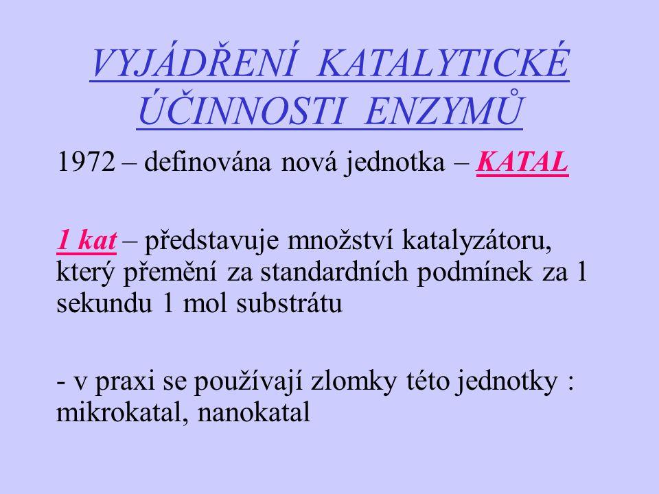 VYJÁDŘENÍ KATALYTICKÉ ÚČINNOSTI ENZYMŮ 1972 – definována nová jednotka – KATAL 1 kat – představuje množství katalyzátoru, který přemění za standardníc