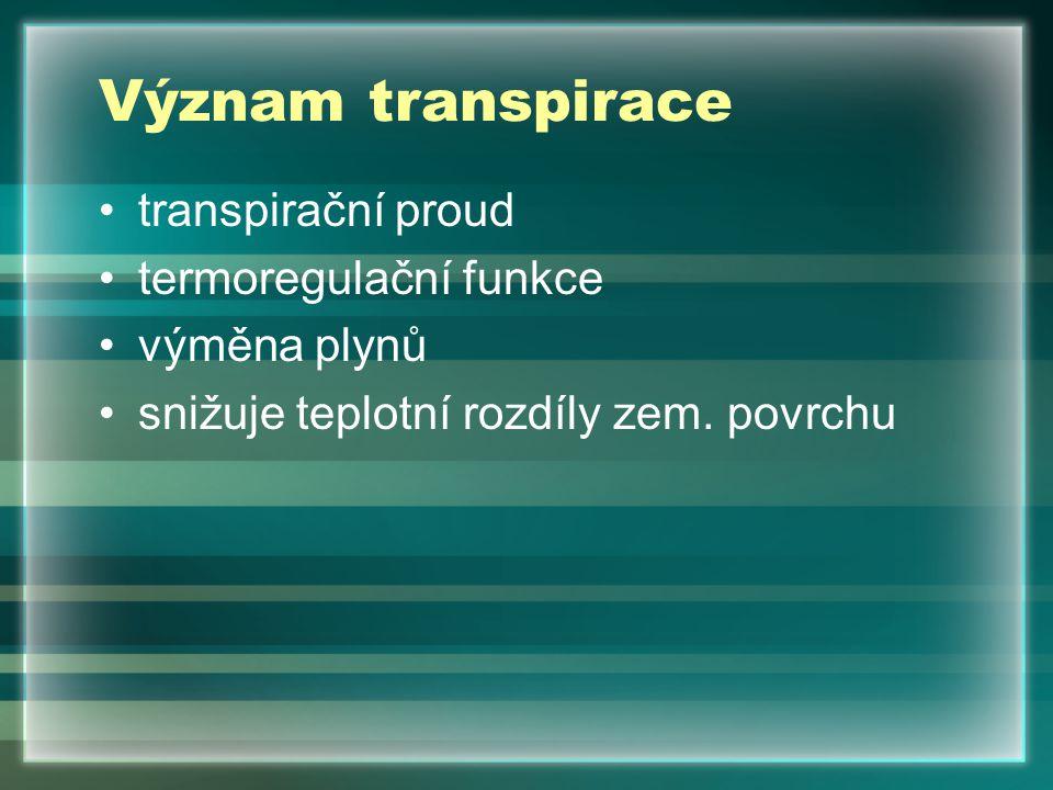 Význam transpirace transpirační proud termoregulační funkce výměna plynů snižuje teplotní rozdíly zem.