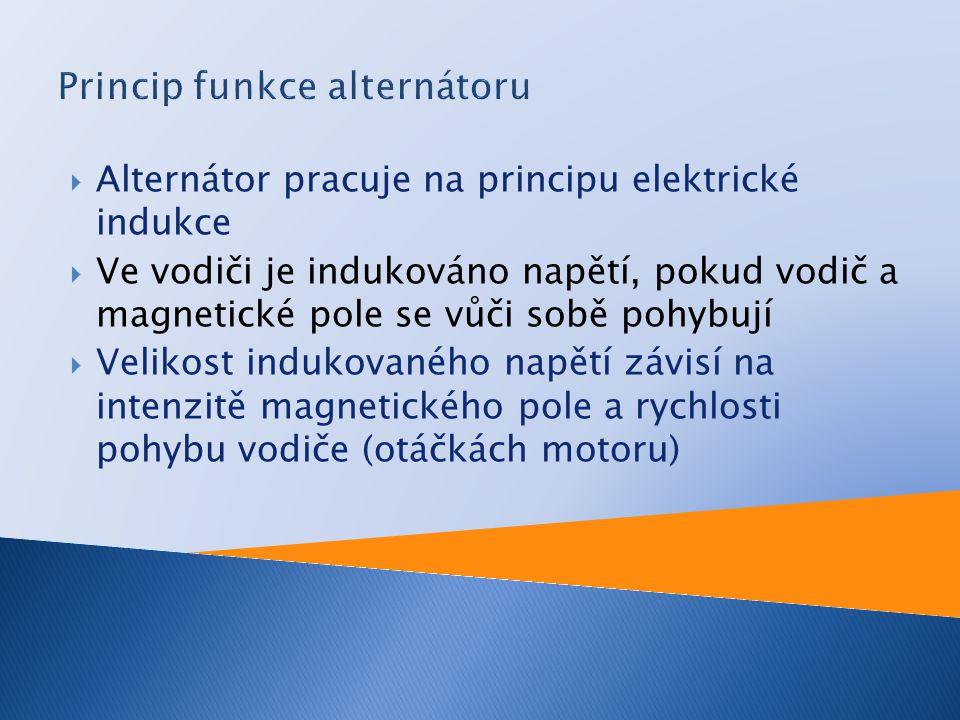  Alternátor pracuje na principu elektrické indukce  Ve vodiči je indukováno napětí, pokud vodič a magnetické pole se vůči sobě pohybují  Velikost i