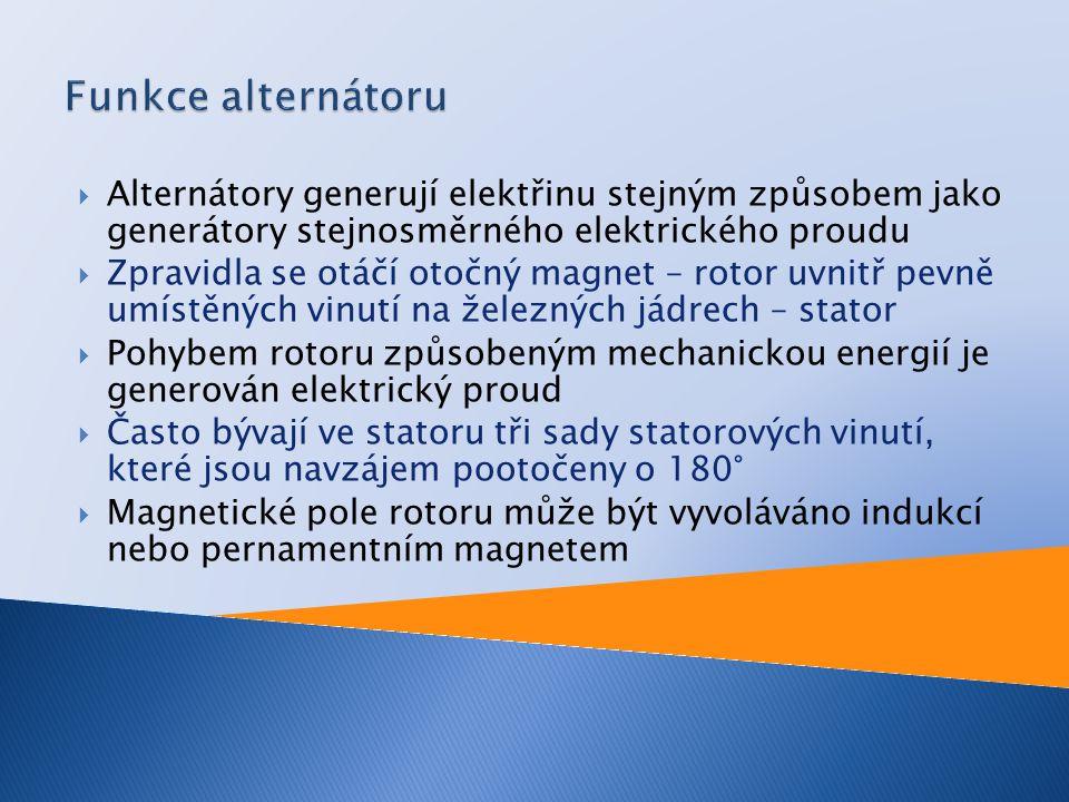  Automobilový alternátor má stejnou konstrukci jako průmyslový alternátor  Automobilový alternátor vyrábí trojfázový střídavý elektrický proud  Střídavý elektrický proud musí být před vstupem do sítě vozidla usměrněn  K usměrnění střídavého elektrického proudu se používají diody  Diody se upevňují do diodového můstku  K omezení napěťových špiček je výstupní stejnosměrný elektrický proud alternátoru regulován Zenerovou diodou  Výhoda alternátoru vůči dynamu je především v tom, že má nízkou hmotnost