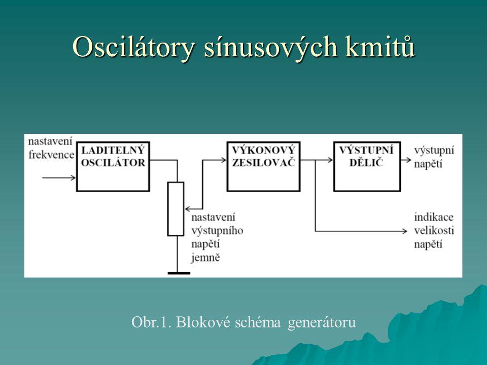 Oscilátory sínusových kmitů Obr.1. Blokové schéma generátoru