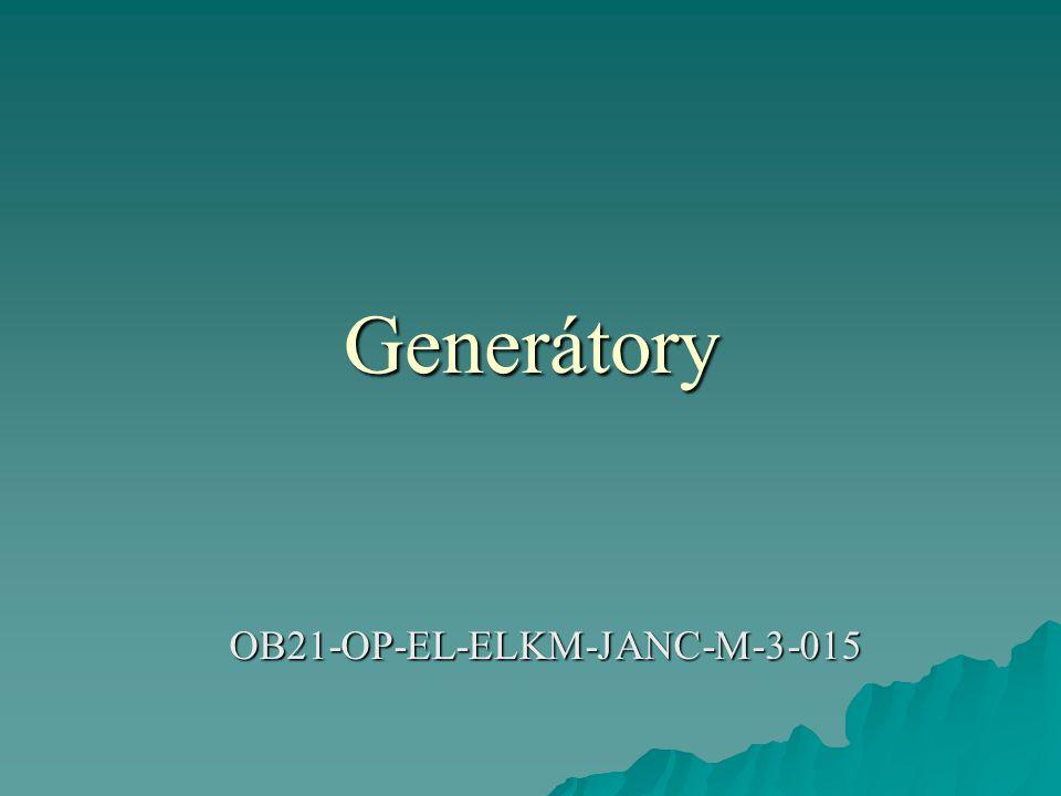 Požadavky kladené na generátory  definovatelná (a měnitelná - stupňovitě: 50, 300, 600, 1200 , nebo plynule) výstupní impedance  větší množství různých generovaných průběhů (sinus, obdélník, trojúhelník,..., bílý šum)