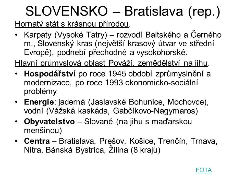 SLOVENSKO – Bratislava (rep.) Hornatý stát s krásnou přírodou.