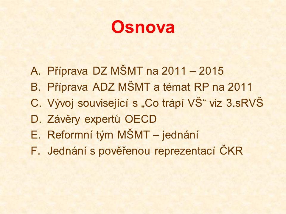 """Osnova A.Příprava DZ MŠMT na 2011 – 2015 B.Příprava ADZ MŠMT a témat RP na 2011 C.Vývoj související s """"Co trápí VŠ"""" viz 3.sRVŠ D.Závěry expertů OECD E"""
